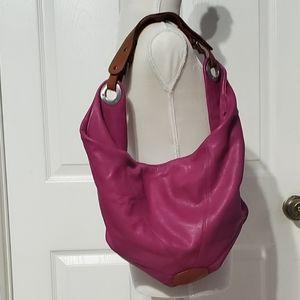 Chistopher Kon Fuchsia Leather Shoulder Hand Bag